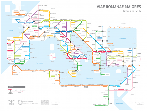 The Romans built over 400,000 km of roads. It looks insane, like a modern subway map