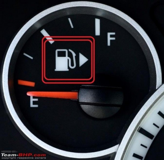 Who invented to designate the machine with the arrow on the icon of the gas station the location of the fuel tank